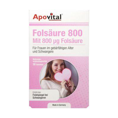 قرص اسید فولیک ۸۰۰ آپوویتال | ۳۰ عدد |کمک به رشد طبیعی جنین