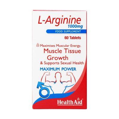 قرص ال آرژنین ۱۰۰۰ میلی گرم هلث اید | ۶۰ عدد |رشد بافت عضلانی