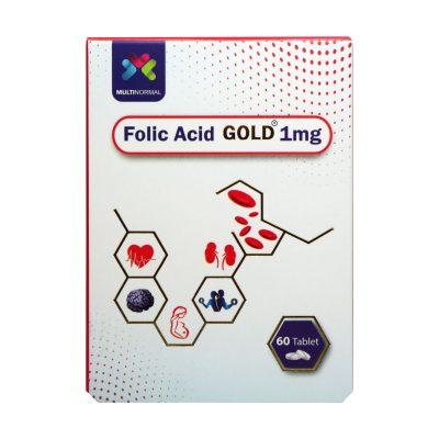 قرص فولیک اسید گلد ۱ میلی گرم مولتی نرمال | ۶۰ عدد | جلوگیری از کم خونی