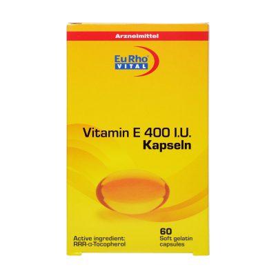کپسول ویتامین ای ۴۰۰ یورو ویتال | ۶۰ عدد | آنتی اکسیدان و کمک به حفظ سلامت بدن