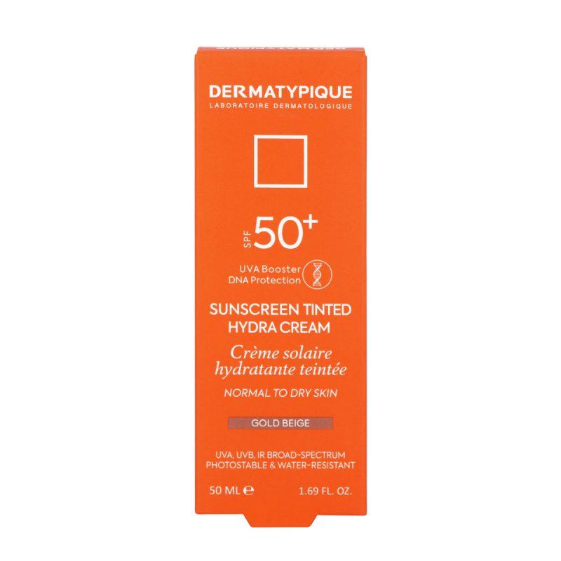 ضد آفتاب رنگی هیدرا گلد بژ مناسب پوست خشک +SPF50 درماتیپیک 50 میلی لیتر
