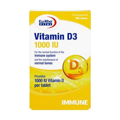 قرص ویتامین D3 1000 یورو ویتال | ۶۰ عدد | افزایش جذب کلسیم و فسفر