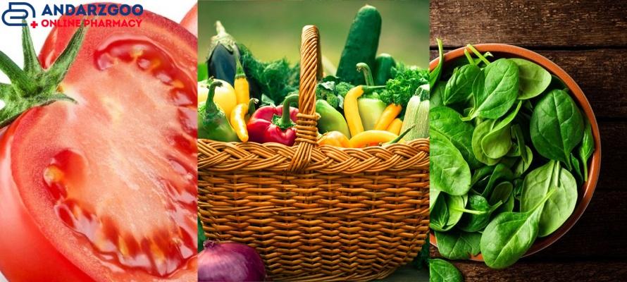 اسفناج، سبزیجات، گوجه فرنگی برای سلامت قلب و عروق